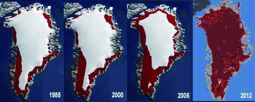 Schmelzen in Grönland zwischen 1985 und 2012. Die rot gefärbte Fläche stellt Gebiete dar, in denen zumindest an drei Tagen in der Zeit zwischen dem 1. Mai und 30. September Eisschmelzen zu beobachten war