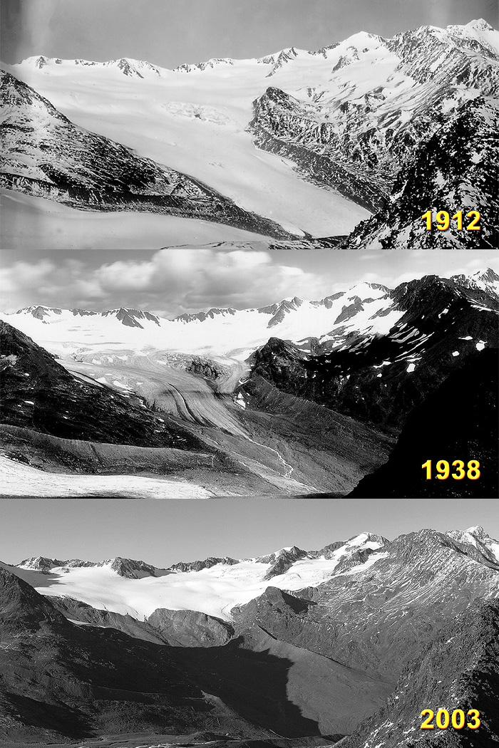Fotos aus den Jahren 1912, 1938 und 2003 des in den Ötztaler Alpen/Tirol liegenden Vernagtferners. Diese von der mittleren Guslarspitze aus gemachten Aufnahmen zeigen den markanten Rückzug dieses Eiskörpers