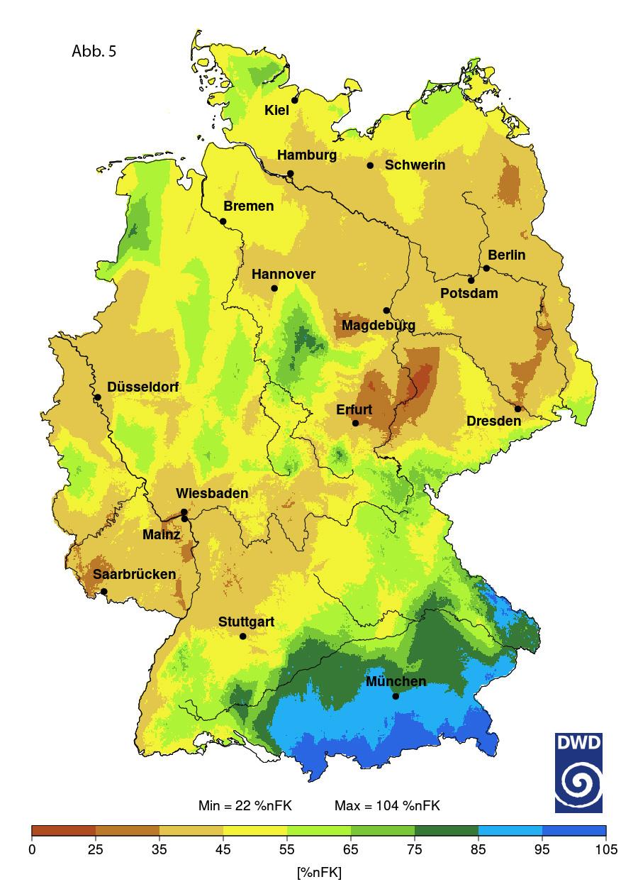 Abb.5: Bodenfeuchte als nFK (in 0-60 cm Tiefe) in Deutschland im Monat August 2020