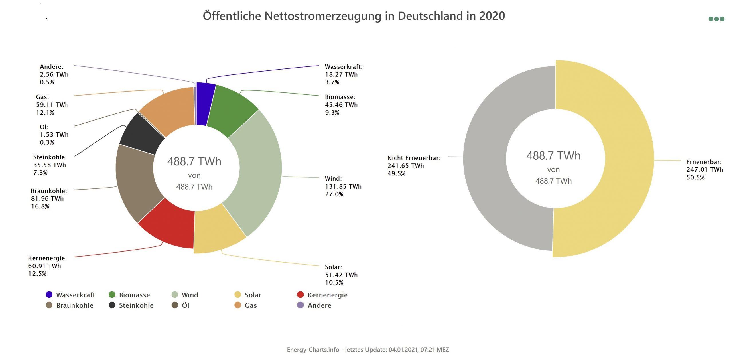 Öffentliche Nettostromerzeugung in Deutschland in 2020